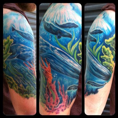 underwater sleeve tattoo underwater half sleeve by chad miskimon tattoonow