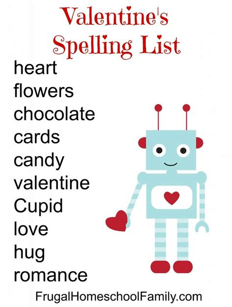 valentines word list free s day spelling list kid network