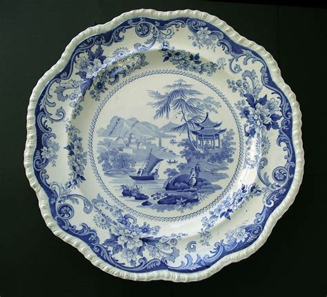 blue pattern pottery canton views pattern rare special mark red lion hampton