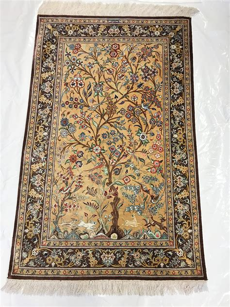 traditional rug ghom silk tree of overview