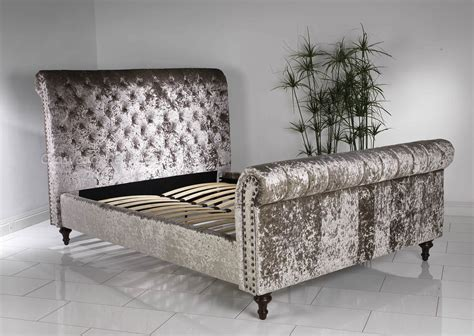 velvet bed new luxury 4ft 6 double mink crushed velvet chesterfield