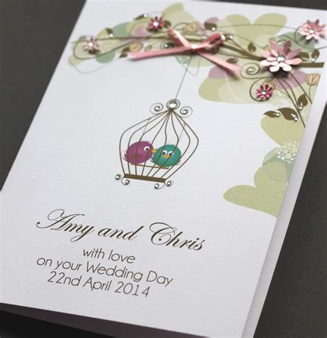 Handmade Personalised Wedding Cards - large a5 handmade personalised birds wedding