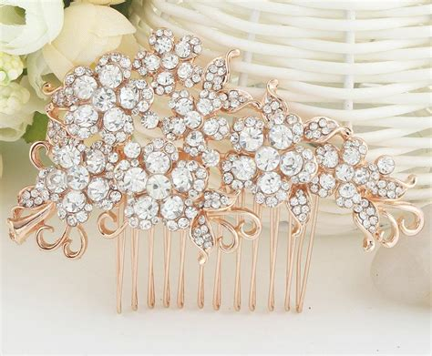 gold piece wedding hairpiece rhinestone bridal