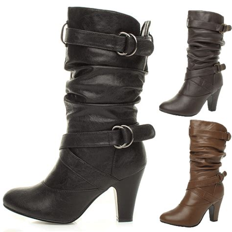slouch high heel boots womens buckle mid high heel zip ruched slouch calf