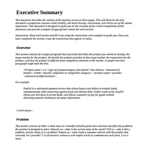Credit Summary Template 31 Executive Summary Templates Free Sle Exle Format Free Premium Templates