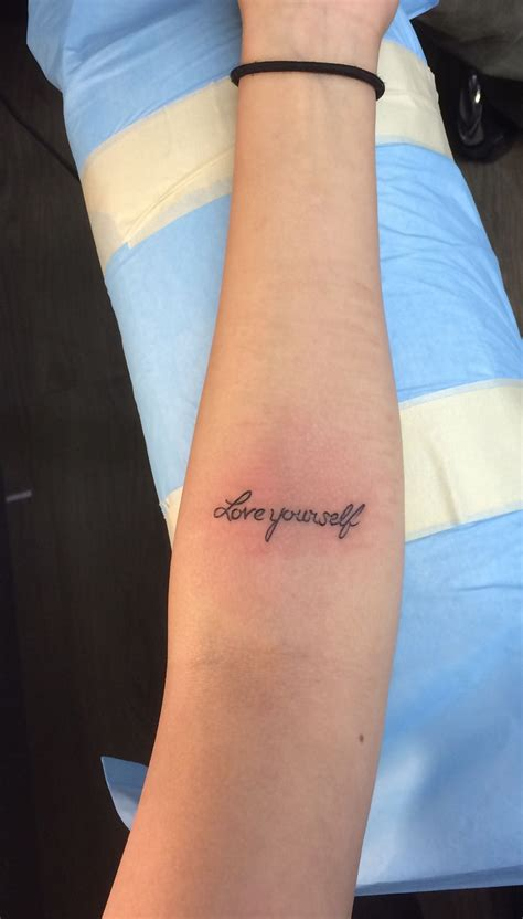 love yourself tattoos forearm quot yourself quot the font of the