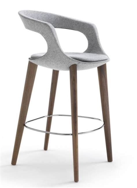 designer bar stool modern italian bar stool wood legs felt or leather