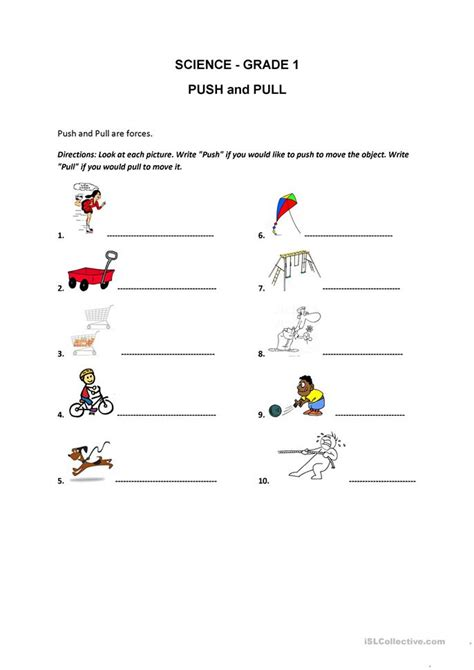 Push And Pull Worksheets For Kindergarten by Push And Pull Worksheet Free Esl Printable Worksheets