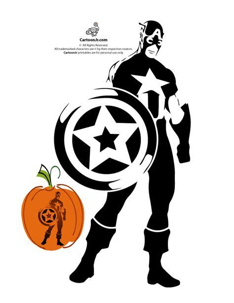 pumpkin print out stencils captain america avengers pumpkin stencil woo jr kids