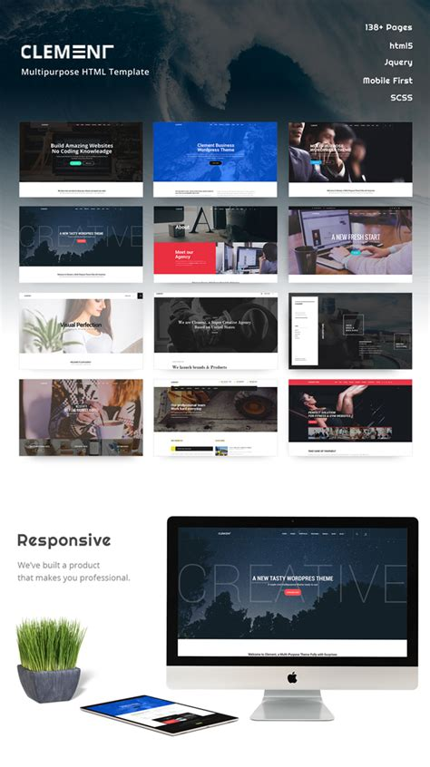 Arch Multipurpose Onepage Multipage Html Template clement responsive multi purpose multipage one page html template by westilian