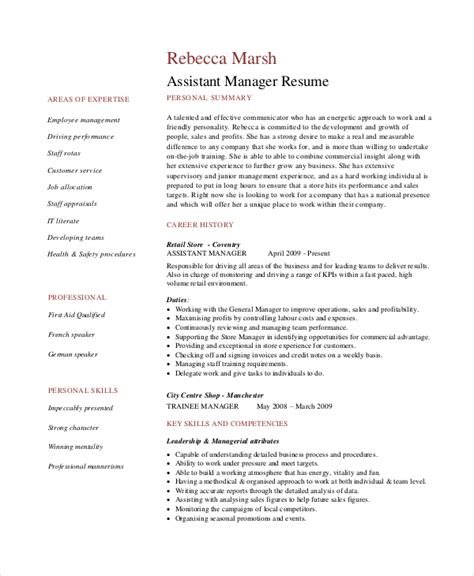 Resume Format For Assistant Manager by 8 Retail Manager Resumes Free Sle Exle Format
