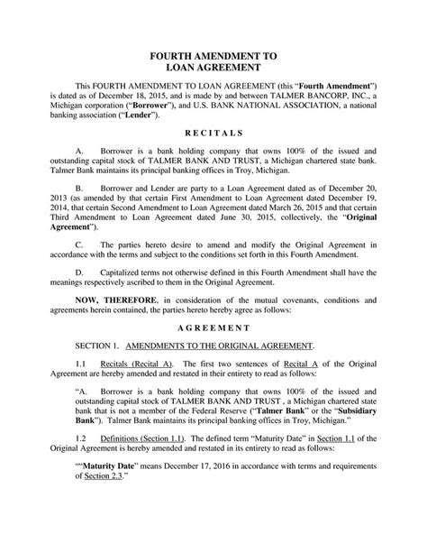 Letter Of Agreement Amendment fourth amendment to loan agreement this fourth amendment to loan