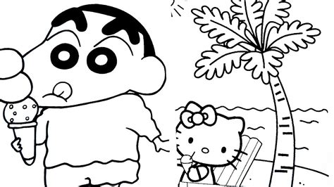 hello kitty coloring pages with crayons coloring book how to paint hello kitty crayon shin chan