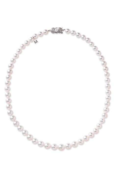 mikimoto graduated akoya cultured pearl necklace in white