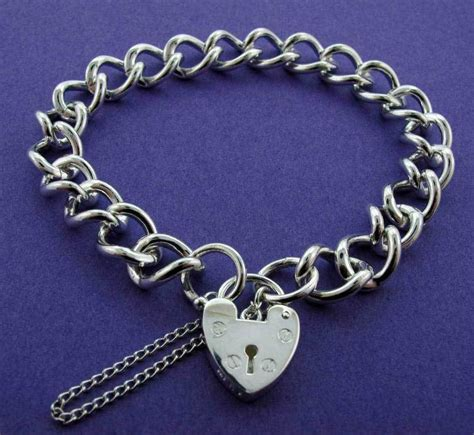 925 sterling silver curb chain link charm bracelet