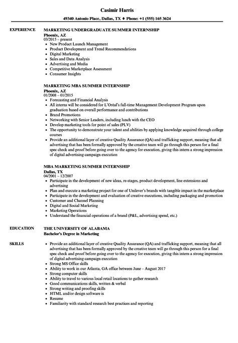 sle of resume for internship marketing summer internship resume sles velvet