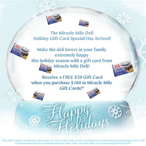 Special Gift Cards - the holiday gift card special has arrived miracle mile deli