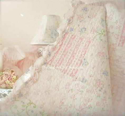 queen quilt set shabby patchwork vintage pink periwinkle