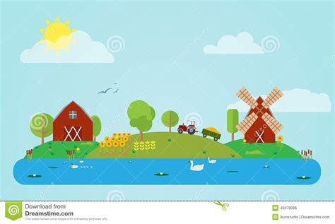 Farmhouse Building Plans flat countryside stock vector image 49378086