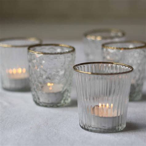 clear tea light holders ribbed clear glass tea light holder with gold the