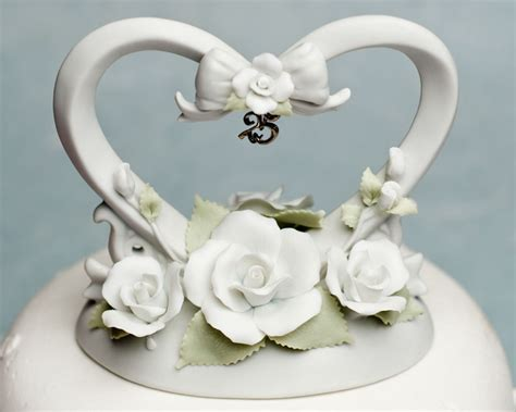 25th Anniversary Heart Cake Topper   Wedding Cake Topppers
