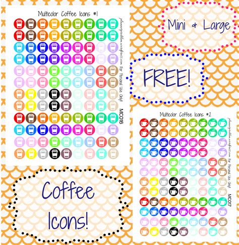 printable planner stickers rainbow coffee cup by partyink multicolor coffee icons free printable planner stickers