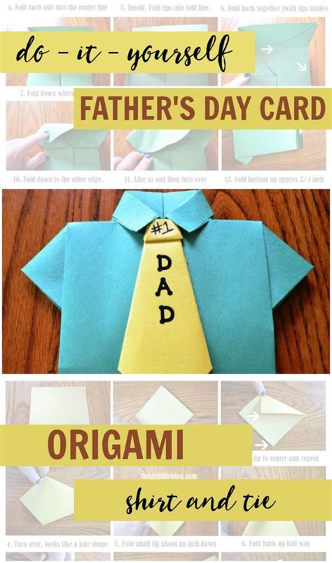 Fathers Day Paper Crafts - diy s day card origami shirt tie craft easy