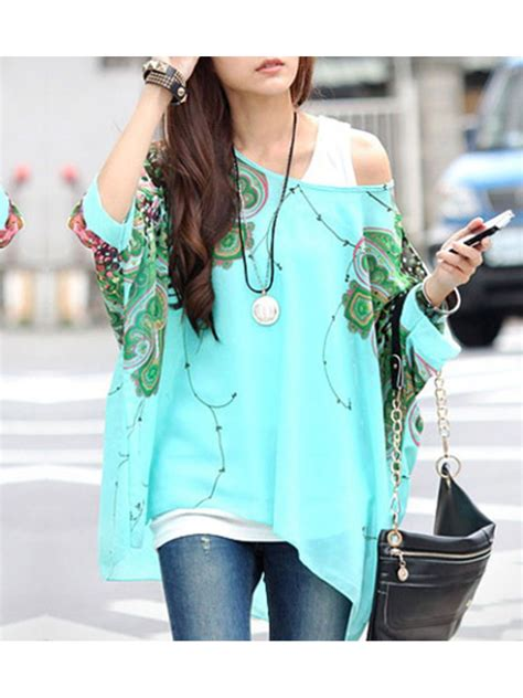Thick Chiffon Blouse 1 floral detail batwing sleeve fitting blue chiffon