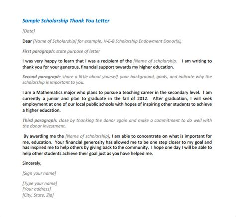 Thank You Letter For Graduate School Scholarship Scholarship Thank You Letter 10 Free Sle Exle Format Free Premium Templates