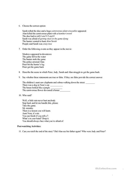 jumanji movie worksheet jumanji video guide worksheet free esl printable