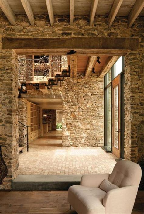 le mur de pierre interieur  idees de design original