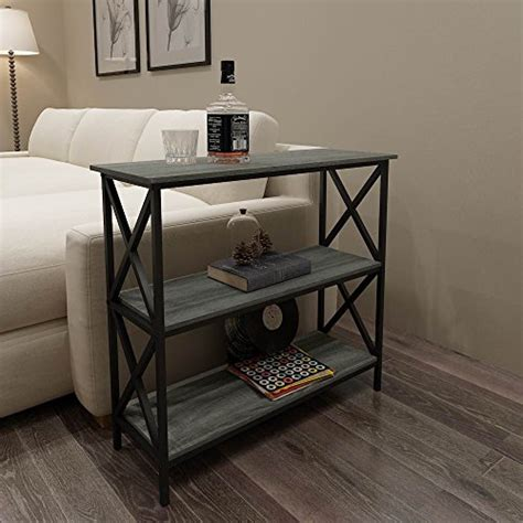 Sofa Table Bookshelf by Weathered Grey Oak Finish 3 Tier Metal X Design Bookcase