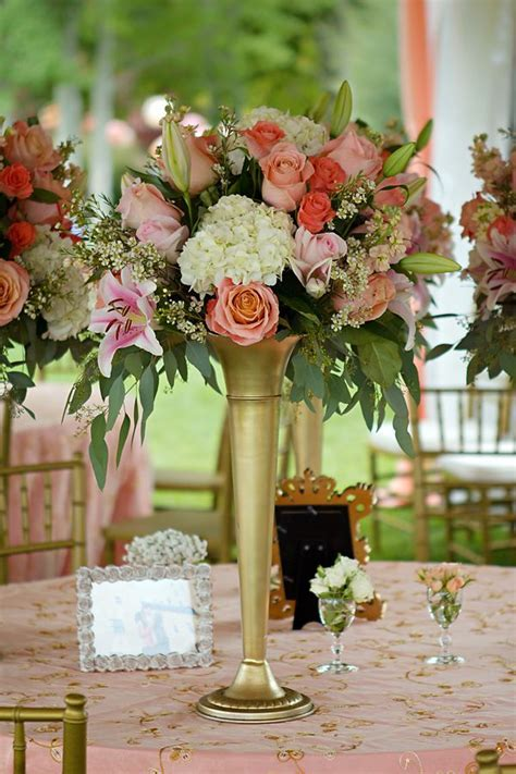 Peach, Cream, and Gold Tower Centerpieces. With Mini Rose