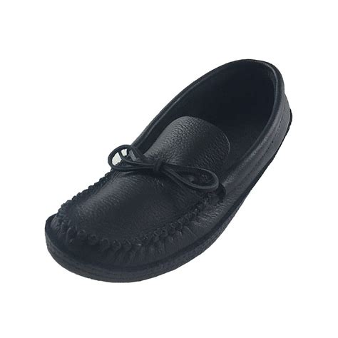 mens leather moccasin slippers s black genuine moosehide leather soft sole moccasin