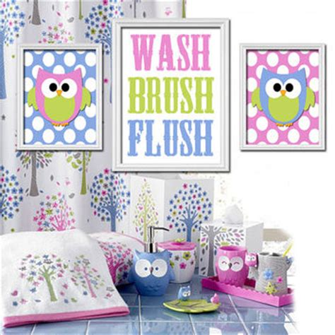 owl themed bathroom decor owl hoot theme bathroom wash brush flush from trm design