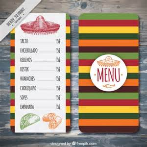 mexican menu template free colorful mexican menu template vector free