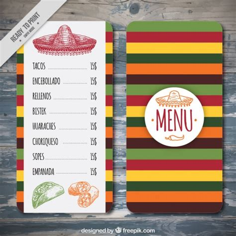 colorful mexican menu template vector free