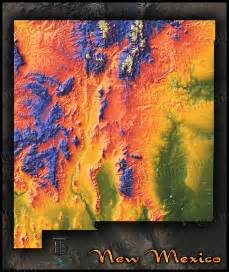 New Mexico Elevation Map by Topographical New Mexico State Map Colorful Physical Terrain