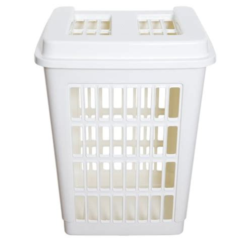 Cream Plastic Rectangular Laundry Basket Hamper Washing Plastic Laundry With Lid
