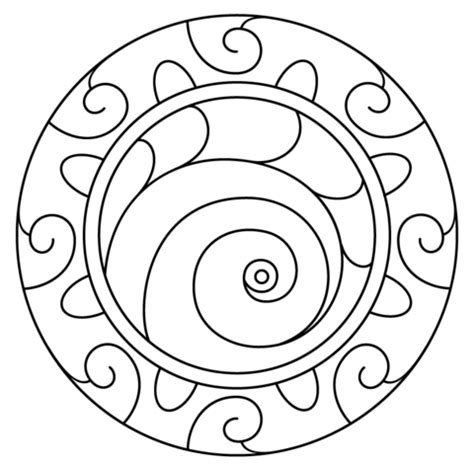 spiral mandala coloring pages mandala with spiral pattern coloring page free printable