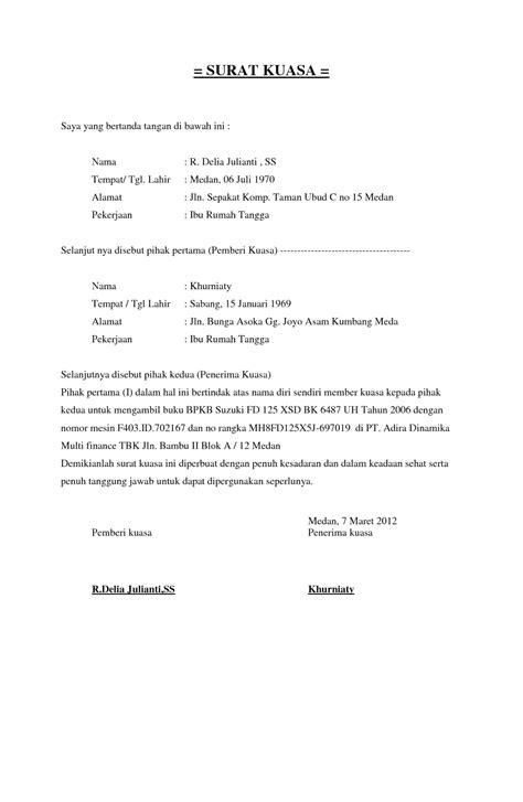 Contoh Surat Kuasa Buatan Tangan by Contoh Surat Kuasa Lengkap 4d1jonk Medium