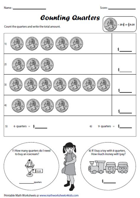 printable quarter worksheets money worksheets