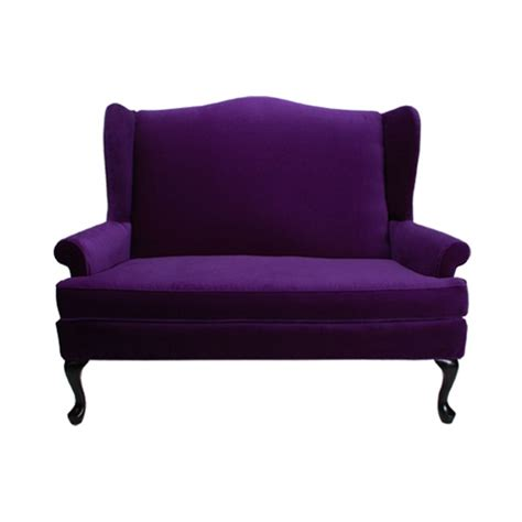 purple loveseat sofa wingback loveseat purple formdecor