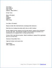 Letter Of Resignation Word Template by Free Letter Of Resignation Template Resignation Letter Sles