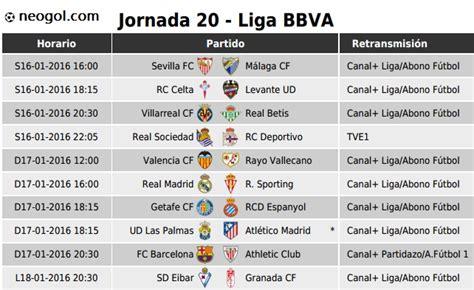 partidos jornada 20 liga espa 241 ola bbva 2016 liga