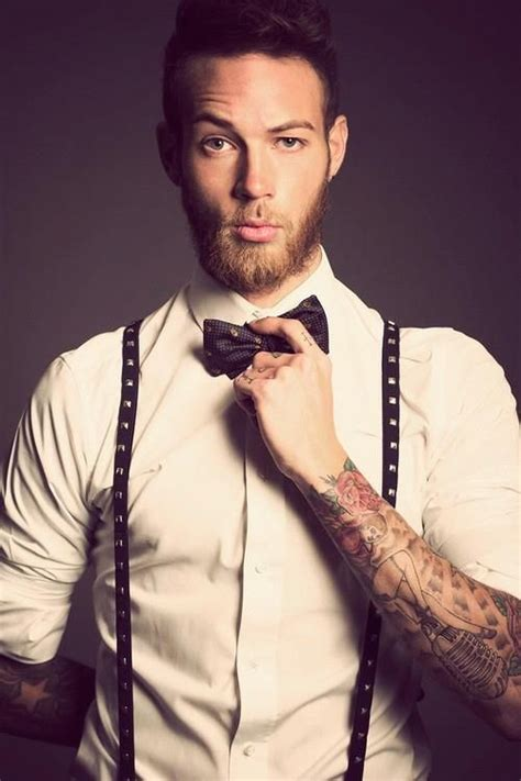 suspender tattoo studded suspenders and a bow tie this works mens