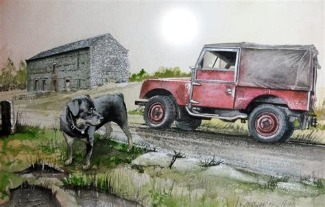 land rover setter dog wallpaper dog series 1 land rover road painting