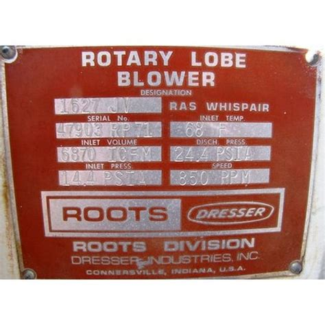 Dresser Roots by Roots Dresser Positive Displacement Blower Supplier Worldwide Used Roots Dresser 1627 Jv