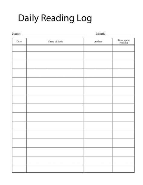 printable reading log templates kids middle school