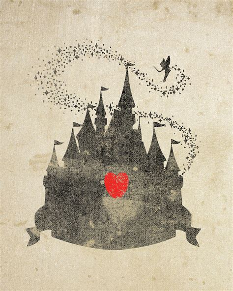 wallpaper disney vintage disney castle inspired silhouette 8x10 art print with heart